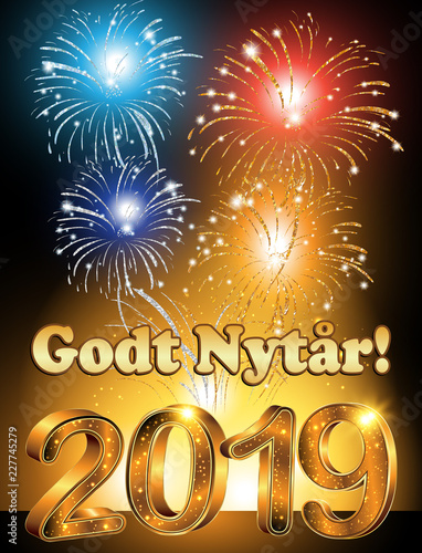 happy new year greeting card with text written in danish designed for the new