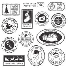 Christmas stamp. Vintage Santa Claus postmark, north pole mail cachet and snowflake symbol on stamps vector illustration set