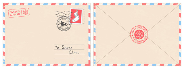 Dear santa claus mail envelope. Christmas surprise letter, child postcard with north pole postmark cachet vector illustration Wall mural