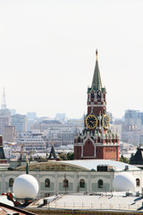 The view of Spasskaya tower and The Kremlin from The Main Kids store in Moscow