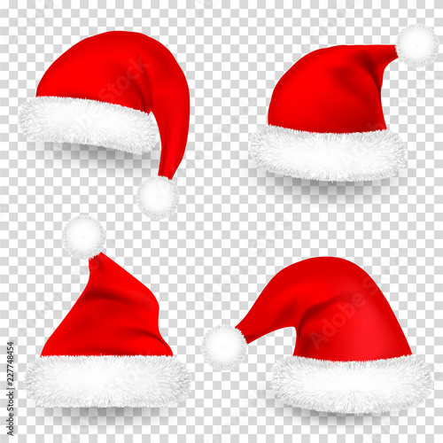 christmas santa claus hats with fur and shadow set new year red hat isolated on