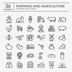 Farm and agriculture vector line icons.