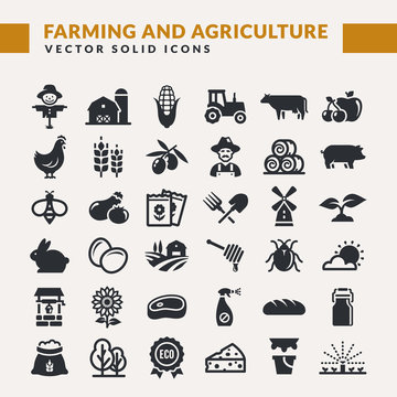 Farming and agriculture vector icons.
