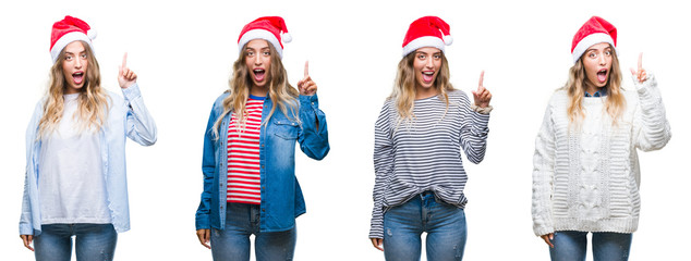 Young beautiful young woman wearing christmas hat over white isolated background pointing finger up with successful idea. Exited and happy. Number one.