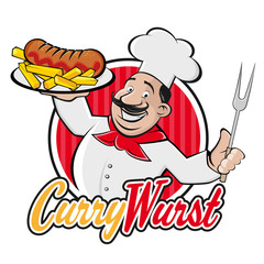 happy chef serving german currywurst