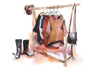 Shopping mall store clothes exhibition clothing display garment rack watercolor