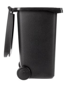 Trash can open plastic black