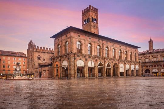 View of Main Square (Piazza Maggiore) with the Fountain of Neptune and Palazzo d'Accursio, Bologna, Italy