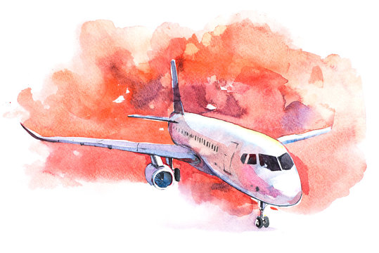Aircraft is at the airport on the take-off field watercolor.