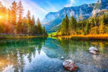 Fantastic autumn sunset of Hintersee lake Wall mural