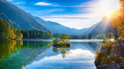 Fantastic autumn sunset of Hintersee lake