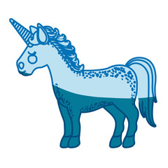 blue silhouette of cartoon unicorn standing with closed eyes