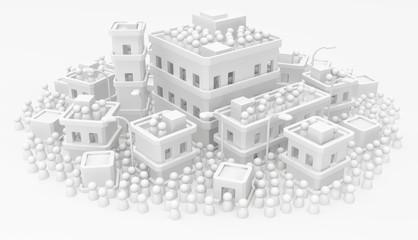 White Crowd Buildings Town Dense