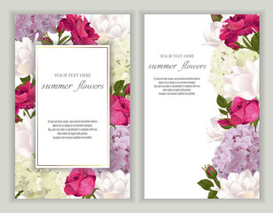 Vector banners set with roses, tulips and hydrangea flowers.Template for greeting cards, wedding decorations, invitation ,sales. Spring or summer design. Place for text.
