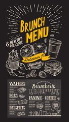 Brunch restaurant menu on chalkboard background. Vector food flyer for bar and cafe. Design template with vintage hand-drawn illustrations.