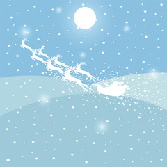 Background with Santa's sleigh, snow, place for text, vector illustration