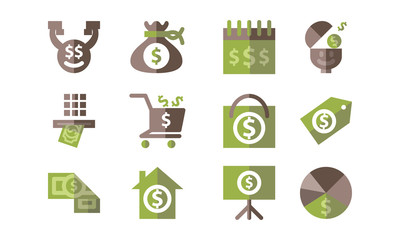 Money Template Flat Icon Isolated