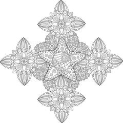 Beautiful coloring book page with star in the center on white background