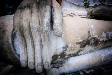 closeup of hand buddha statue
