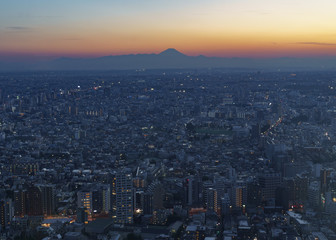 Mount Fuji after sunset with city lights of Tokyo taken from the Tokyo Metropolitan Government Building in Toyko, Japan
