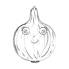 monochrome blurred silhouette of caricature onion