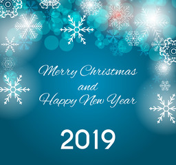 2019 Happy New Year and Merry Christmas Background. Vector Illustration