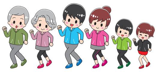 Three generations family jogging