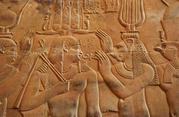 Hieroglyphs in Kom Ombo temple egypt