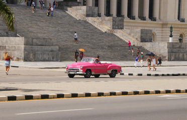 Capitol, Havana, Pink Old Car, People