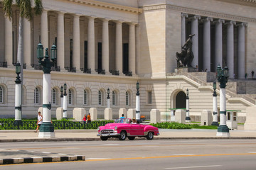 Havana, Capitolio, Pink Old Car