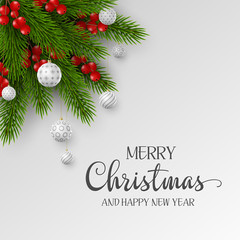 Christmas holiday design. Realistic 3d balls, fir-tree branches and berries with greeting text. New Year template. Vector illustration.