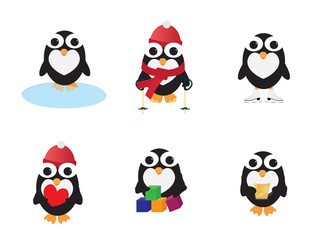 Set of Cute penguins different activities. Holding hot drink, sitting near water,skiing, play with cubes, holding heart, ice skate