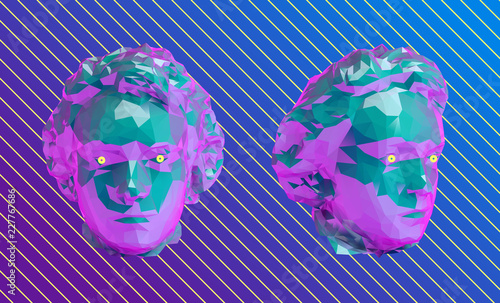 Vaporwave Young Beethoven Bust Head Vector 3D Rendering