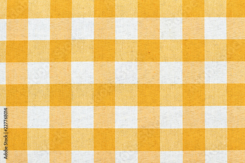 Beau White And Yellow Checkered Tablecloth Background. Yellow Gingham Tablecloth  Background Or Texture. Plaid Design
