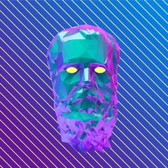 Vaporwave Socrates Head Vector 3D Rendering