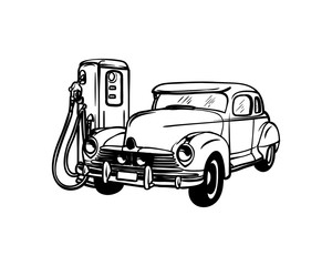 Vector Hand Drawn Old Classic Car and Pump or Gas Station Sign Symbol Retro Logo Design Inspiration