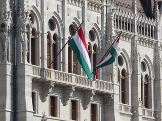 Two Hungarian Flags at the Parliament Building in Budapest