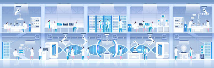 Science lab Laboratory assistants DNA research Vector illustration