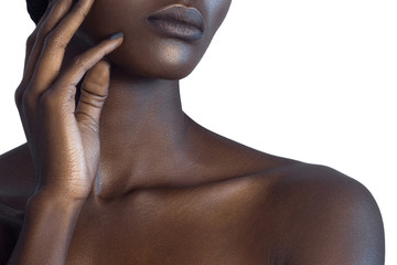 Palm and lips of young beautiful black woman with clean perfect skin close-up