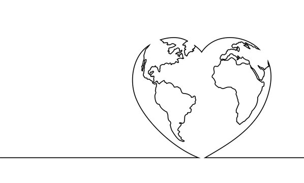 Vector illustration of the continuous line drawing of the heart and world. The world of love. The happy world day.