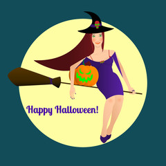 Sexy witch in blue dress with long brown hair is flying on broom with pumpkin, happy halloween text