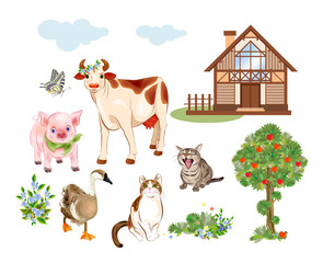 Set of farm animals and pets includes cow, cat, goose and pig. House, tree, flowers, cattle and butterfly are suitable for illustration of rural life. Cartoon style.