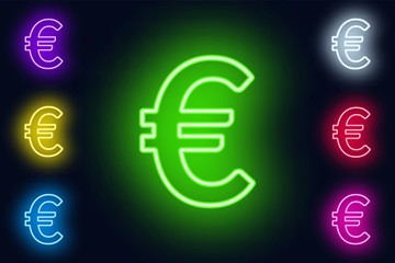 Neon euro sign in various color options on a dark background .