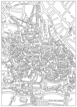 Nottingham street map drawing outline