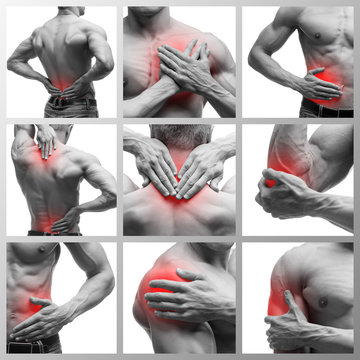 Pain in different man's body parts, chronic diseases of the male body, collage of several photos isolated on white background
