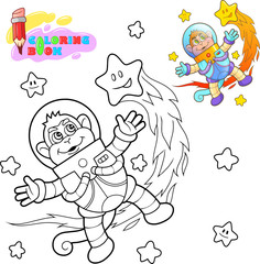 cartoon cute monkey astronaut flies among the stars coloring book