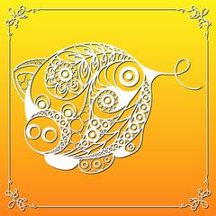 Graphic illustration with decorative pig 7_2