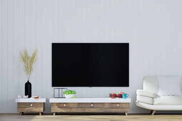 TV on cabinet in  living room, 3D Rendering