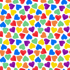 Seamless pattern of colorful hearts on isolated white background - Lgbt flag color. concept of design wrapping paper, wallpaper. valentine's day holiday