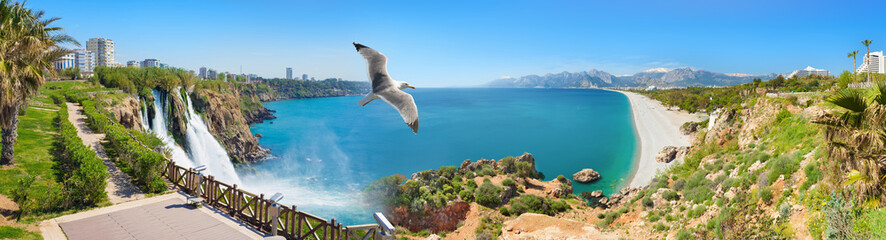 Lower Duden Waterfall and Konyaalti beach in popular resort city Antalya, Turkey